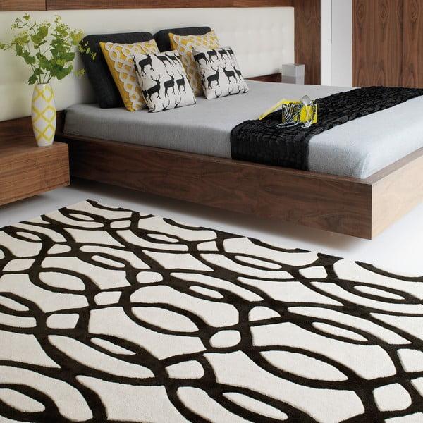 Vlněný koberec Wire White 160x230 cm