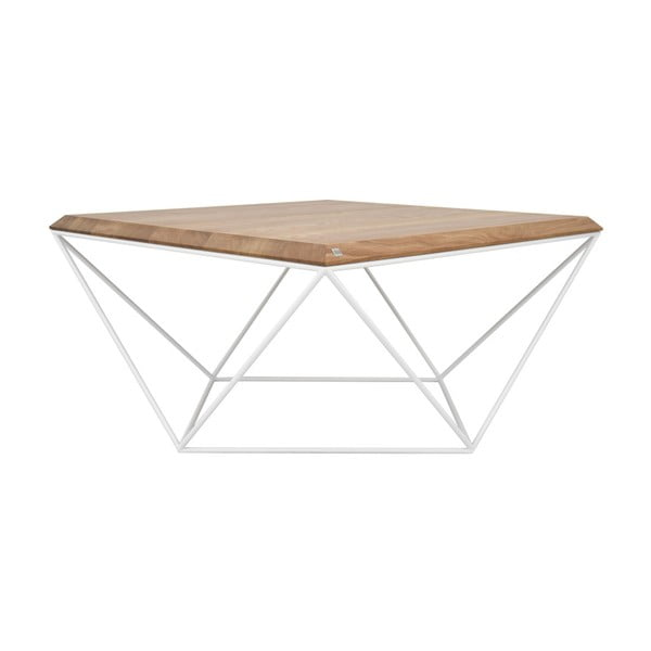 Bílý konferenční stolek s deskou z dubového dřeva take me HOME Tulip, 80x80cm