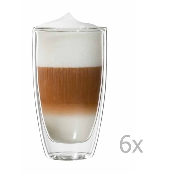 Sada 6 hrnků na latte macchiato bloomix Roma