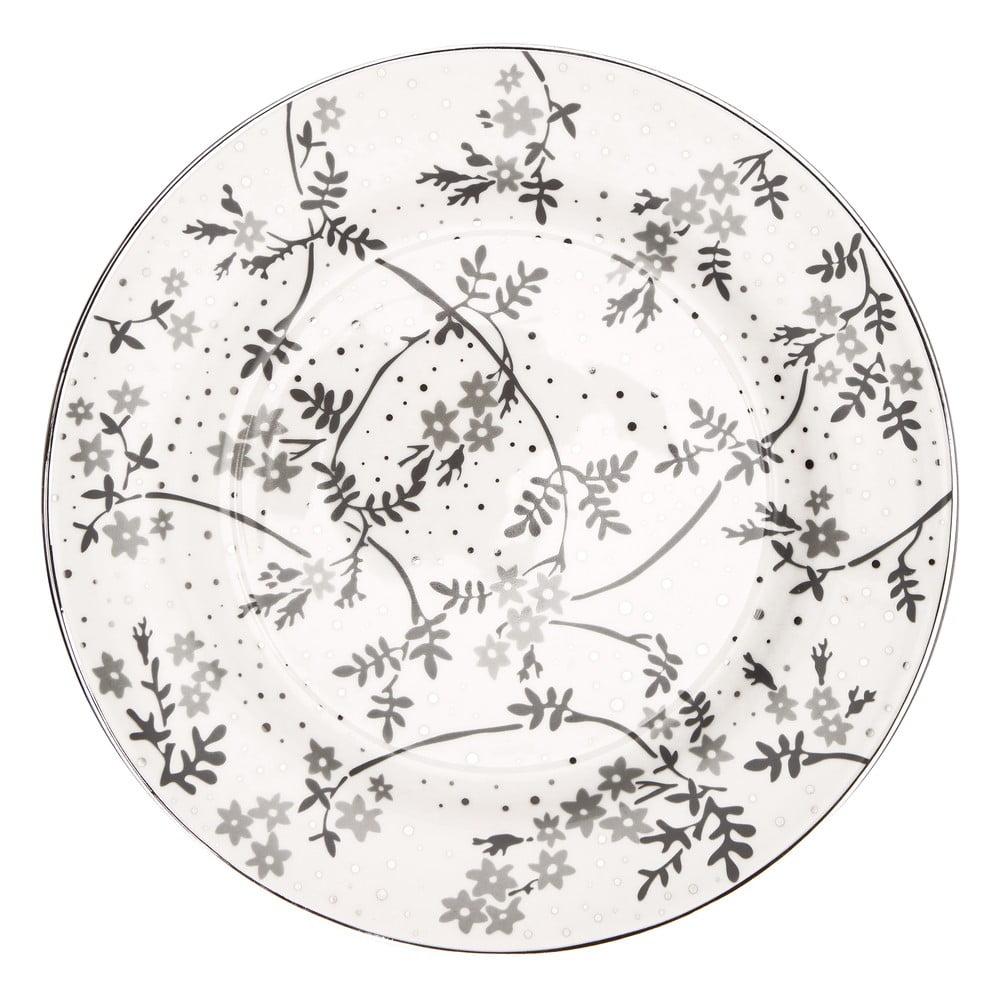 Bílo-šedý porcelánový talíř Green Gate Amira Green Gate