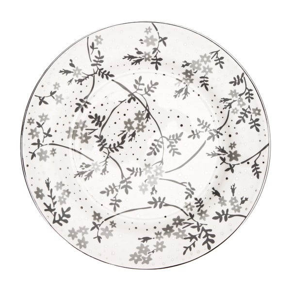 Bílo-šedý porcelánový talíř Green Gate Amira