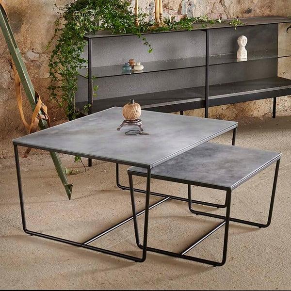 Sada 2 konferenčních stolků s podnožím v černé barvě a šedou mramorovou deskou RGE Stella