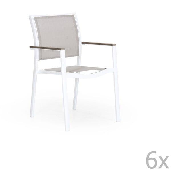 Sada 6 bílých zahradních židlí Brafab Scilla