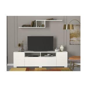 Bílá TV komoda s 3 výklopnými dvířky Loft