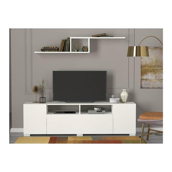 Biała szafka pod TV z uchylnymi drzwiczkami Loft