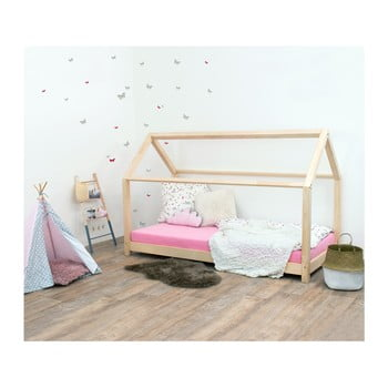 Pat pentru copii, din lemn natural de molid fără bariere de protecție laterale Benlemi Tery, 90 x 180 cm