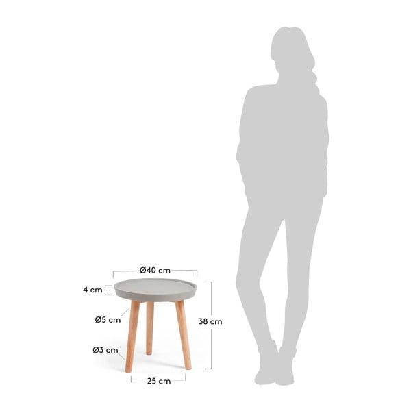 Šedý odkládací stolek La Forma Livy,Ø40cm