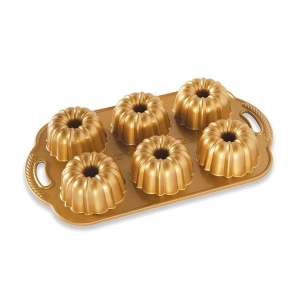 Forma na 6 minibáboviek v zlatej farbe Nordic Ware Anniversary, 1,1 l