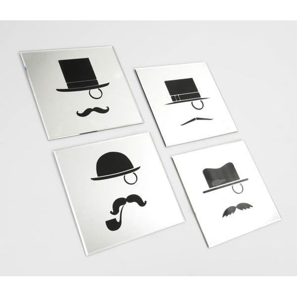 Set 4 zrcadel Moustache, 35x35 cm