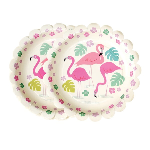 Flamingo Bay 8 db-os papírtányér szett, ⌀ 17,5 cm - Rex London