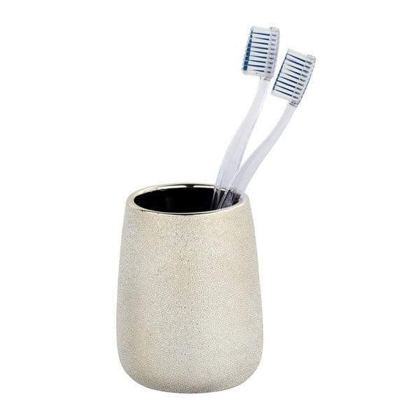 Keramický pohárik na zubné kefky v zlatej farbe Wenko Glimma