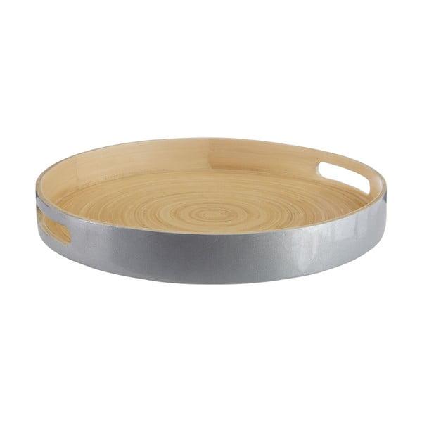 Servírovací podnos z bambusu ve stříbrné barvě Premier Housewares, ⌀ 35 cm