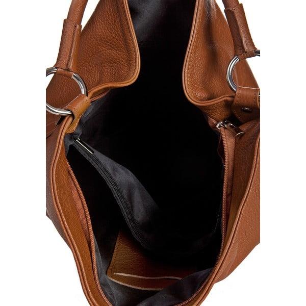Koňakově hnědá kožená kabelka Massimo Castelli Orisa