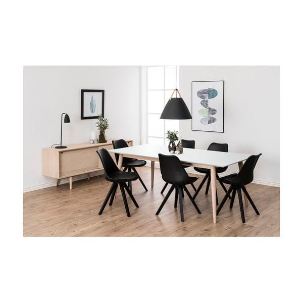 Bílý rozkládací jídelní stůl s podnožím z dubového dřeva Actona Century,200x100cm