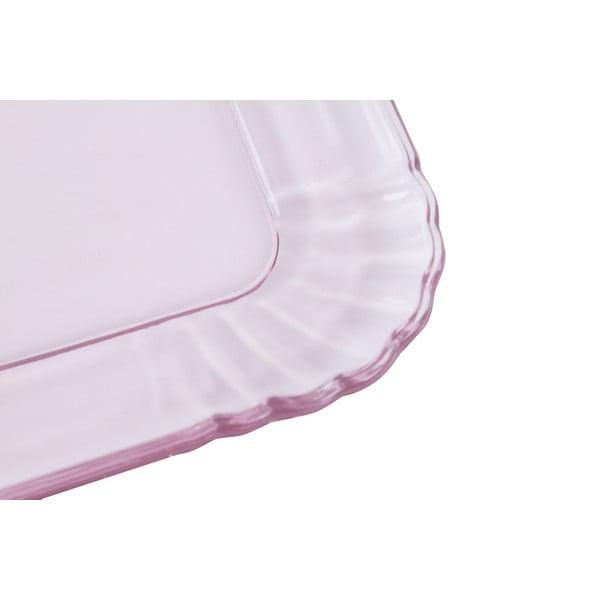Skleněný tácek Kaleidos, růžový