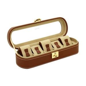 Hnědý kožený box na 5 hodinek Friedrich Lederwaren Cordoba