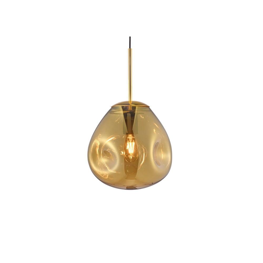 Závěsné svítidlo z foukaného skla ve zlaté barvě Leitmotiv Pendulum, výška 20cm