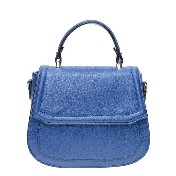 Modrá kožená kabelka s popruhom Isabella Rhea