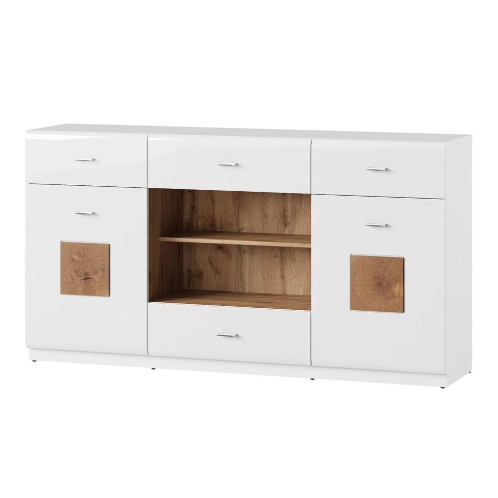 Produktové foto Bílá dvoudveřová komoda se 4 zásuvkami Szynaka Meble Wood