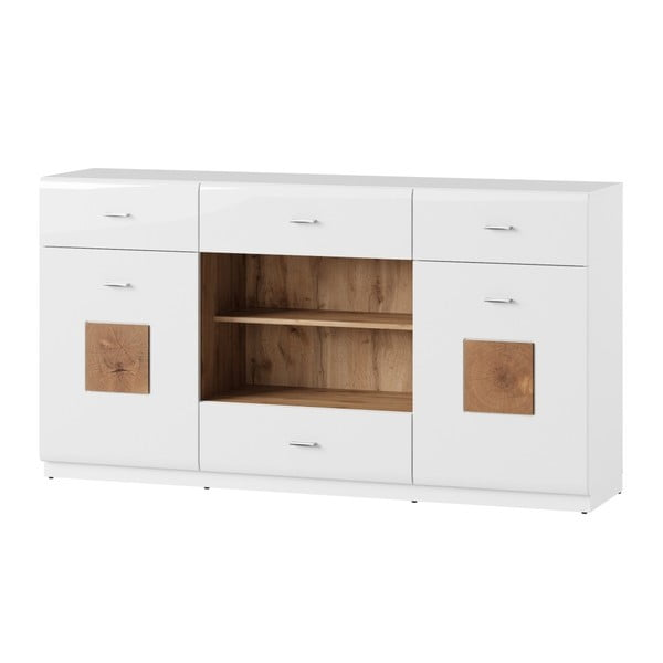 Bílá dvoudveřová komoda se 4 zásuvkami Szynaka Meble Wood