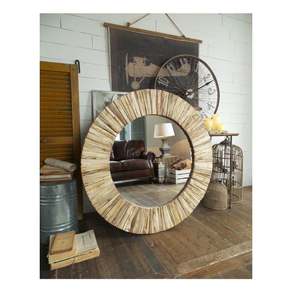 Kulaté zrcadlo s rámem z jilmového dřeva Orchidea Milano Natural