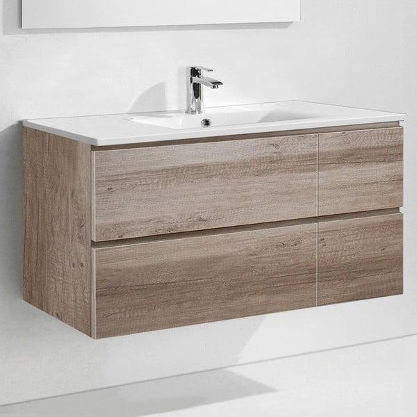 Koupelnová skříňka s umyvadlem a zrcadlem Capri, dekor dubu, 120 cm
