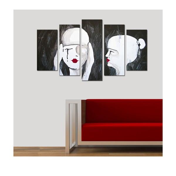 Pětidílný obraz Uplakané, 110x60 cm