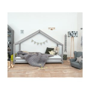 Šedá dětská postel z lakovaného smrkového dřeva Benlemi Sidy, 70 x 160 cm