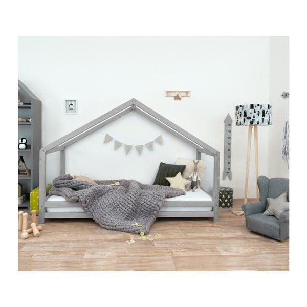 Sivá detská posteľ z lakovaného smrekového dreva Benlemi Sidy, 120 × 200 cm
