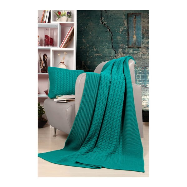 Set pătură și pernă Kate Louise Tricot Sultan, turcoaz
