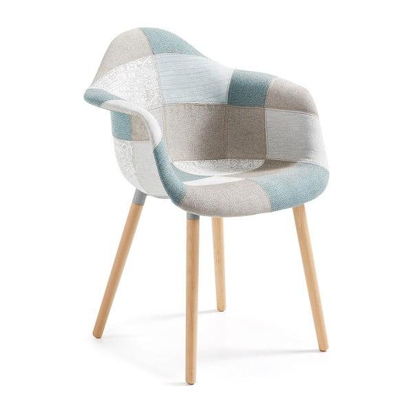 Niebieski wzorzysty fotel La Forma Kenna