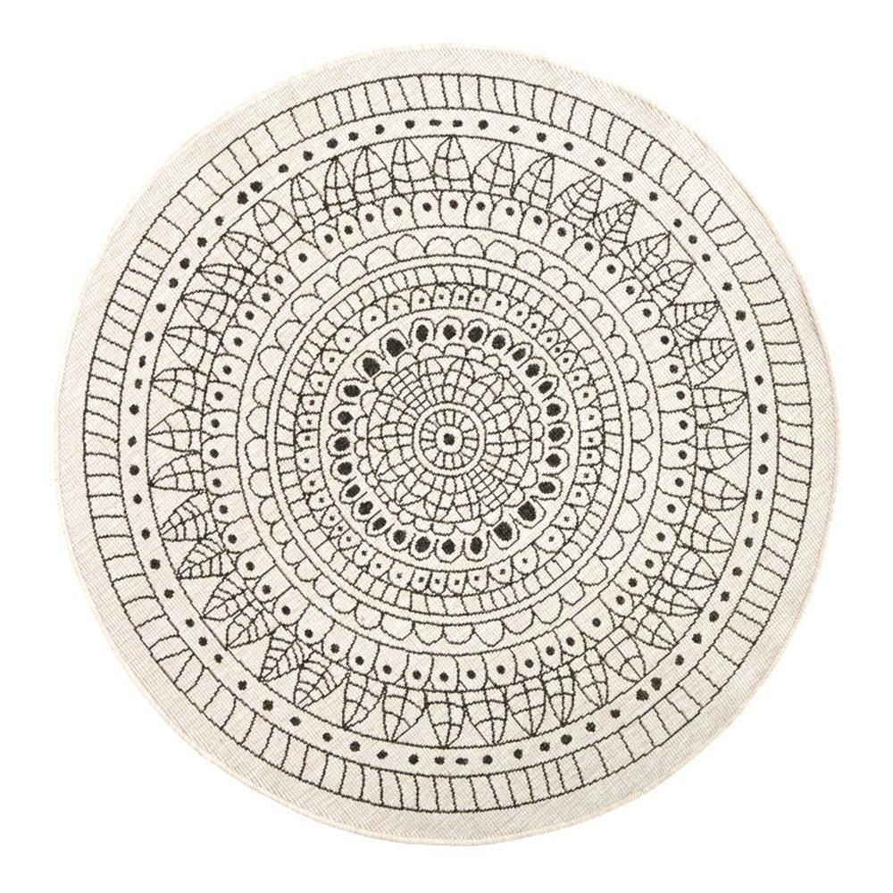 Oboustranný koberec vhodný i na ven v černo-krémovém provedení bougari Porto, Ø 200 cm