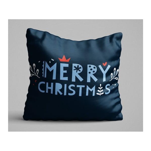 Merry Christmas kék párna, 45 x 45 cm
