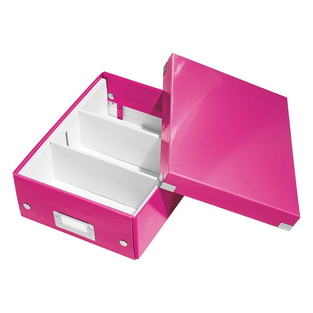 Růžový box s organizérem Leitz Office, délka 28 cm