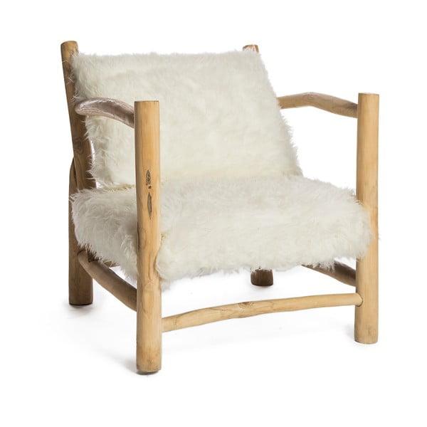 Biały fotel z konstrukcją z drewna tekowego Simla Simple