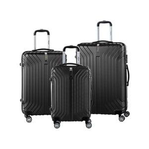 Sada 3 černých cestovních kufrů na kolečkách se zámkem SINEQUANONE