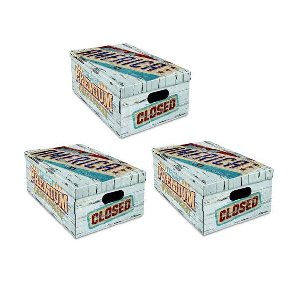 Sada 3 úložných boxů Ordinett Vintage, 52x29cm