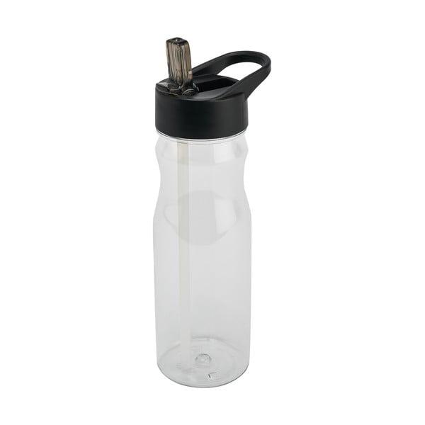Sticlă cu pai și capac Addis Bottle Clear And Black, 700 ml, negru