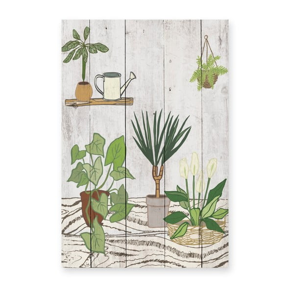 Dřevěná nástěnná dekorativní cedule Surdic Tabla Home Garden, 40 x 60 cm