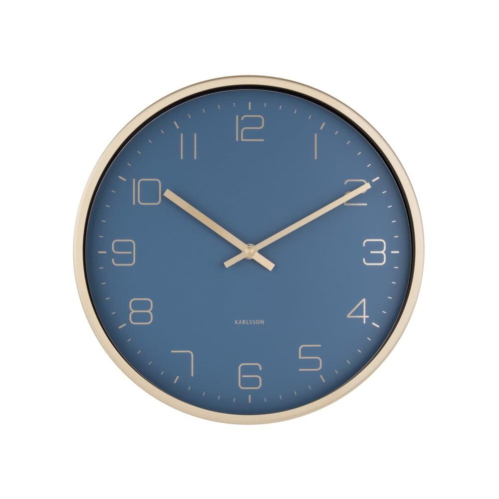 Modré nástěnné hodiny Karlsson Elegance