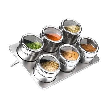 Set 6 recipiente magnetice cu suport pentru condimente Premier Housewares, 100 ml de la Premier Housewares
