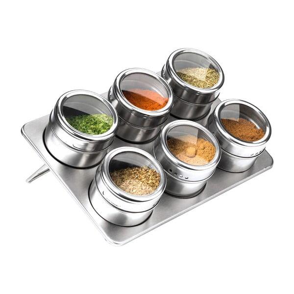 Set 6 recipiente magnetice cu suport pentru condimente Premier Housewares, 100 ml