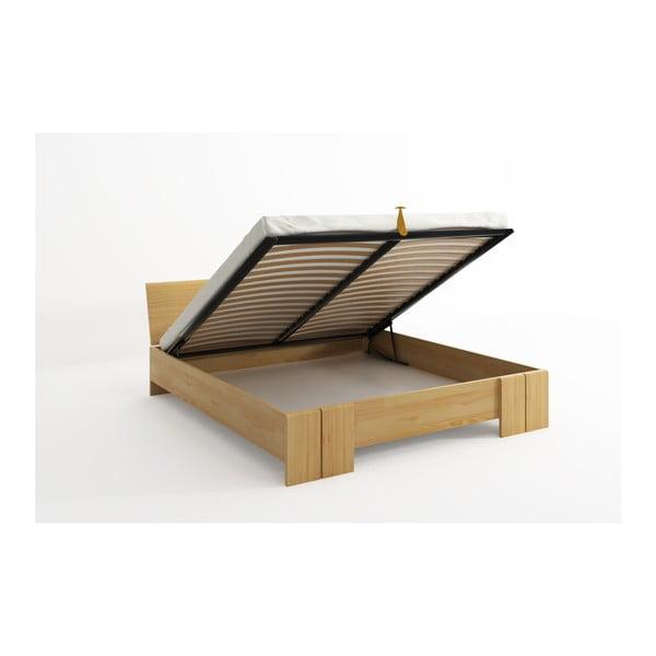 Pat dublu din lemn de pin, cu spațiu de depozitare, SKANDICA Vestre Maxi, 180 x 200 cm