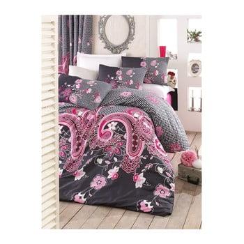 Lenjerie de pat cu cearșaf Hayat Pink, 200 x 220 cm de la Pearl Home