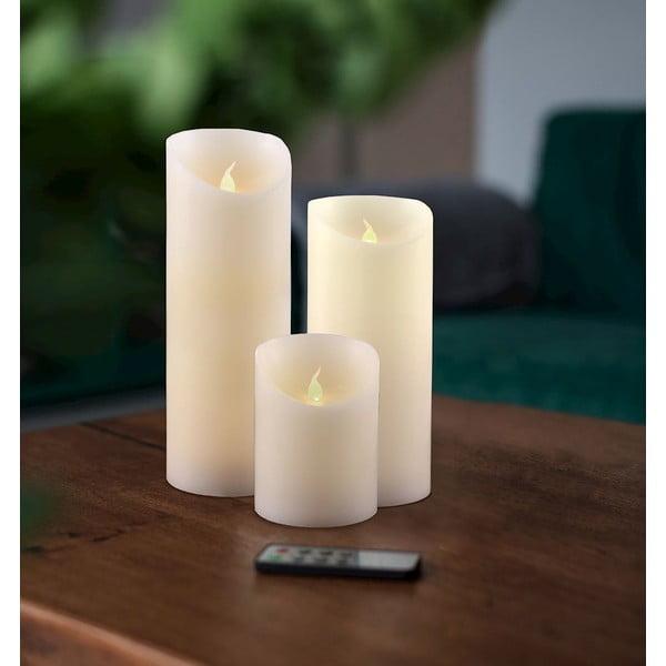 Sada 3 LED svetelných sviečok s diaľkovým ovládačom DecoKing Wax, výška 10; 15 a 20 cm