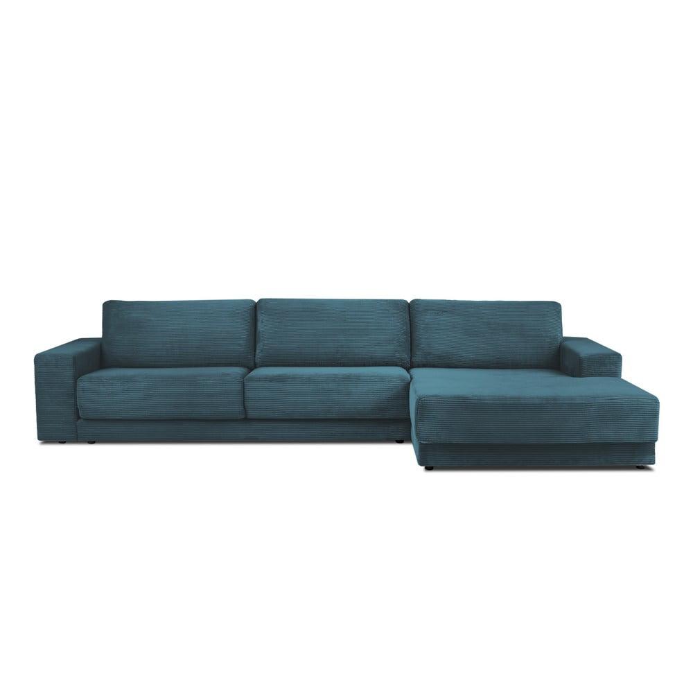 Modrá XXL šestimístná rozkládací pohovka Milo Casa Donatella, pravý roh