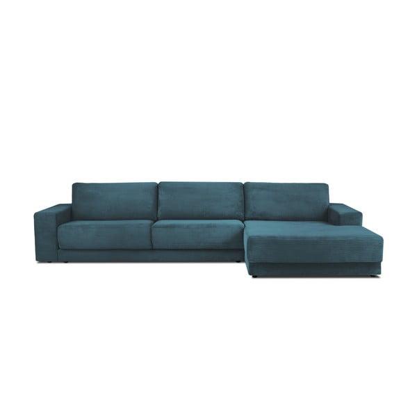 Modrá manšestrová XXL pětimístná rozkládací pohovka Milo Casa Donatella, pravý roh