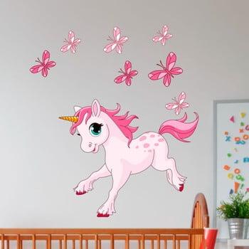 Autocolant de perete Ambiance Unicorn and Papillons imagine