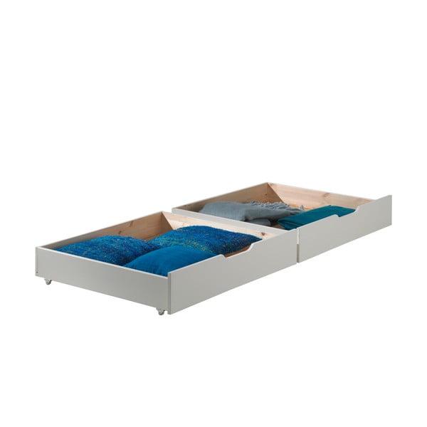 Zestaw 2 białych szuflad do przechowywania pod łóżko Vipack Pino