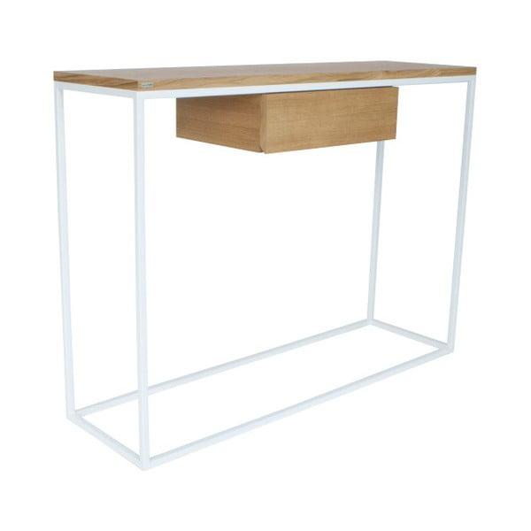 Bílý konzolový stolek s deskou z dubového dřeva take me HOME Radom, 100x30cm